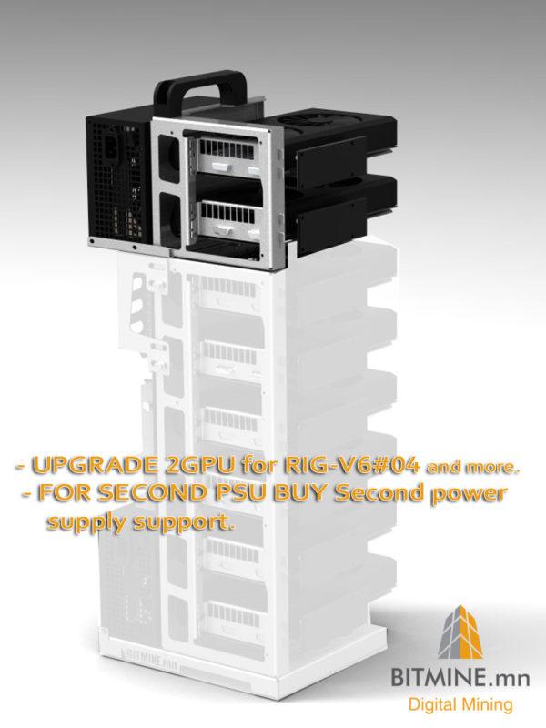 RIG-V6 con aggiunto il Modulo extender +2 GPu e supporto per secondo alimentatore.